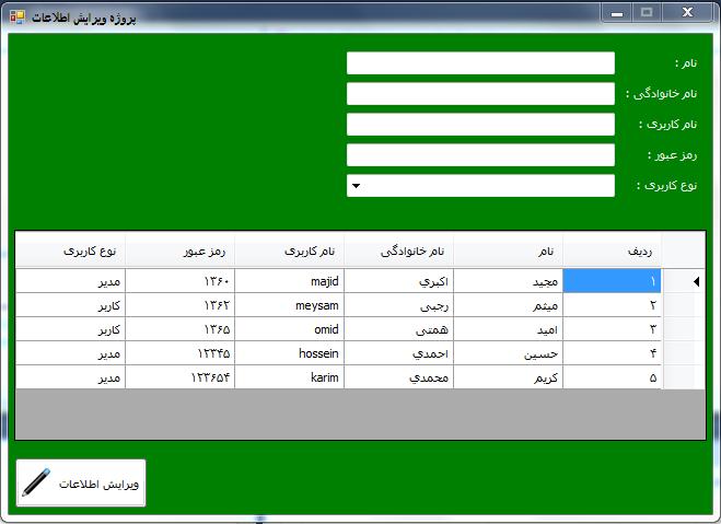 پروژه فرم ویرایش اطلاعات