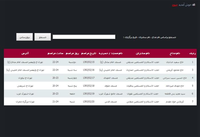 سایت هیئت های مذهبی با asp.net