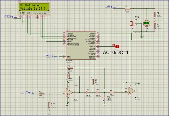پروژه ولت متر ac-dc با پروتیوس